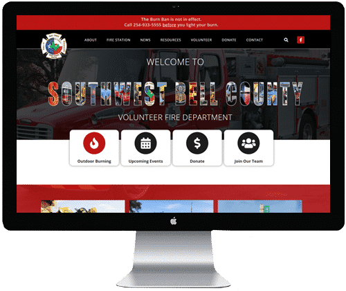A picture of a completed fire department website on a computer monitor